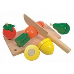 Medinės pjaustomos daržovės su lentele