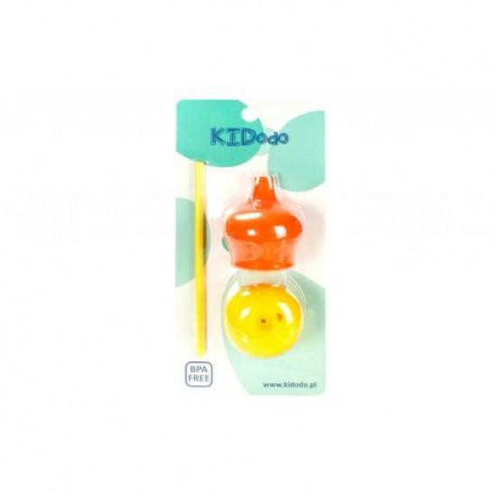 Dangtelių rinkinys puodeliams su šiaudeliui - (geltona - oranžinė)